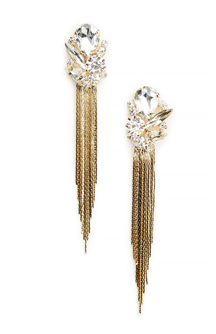 DAILYLOOK Fringe Drop Earrings in gold at DAILYLOOK