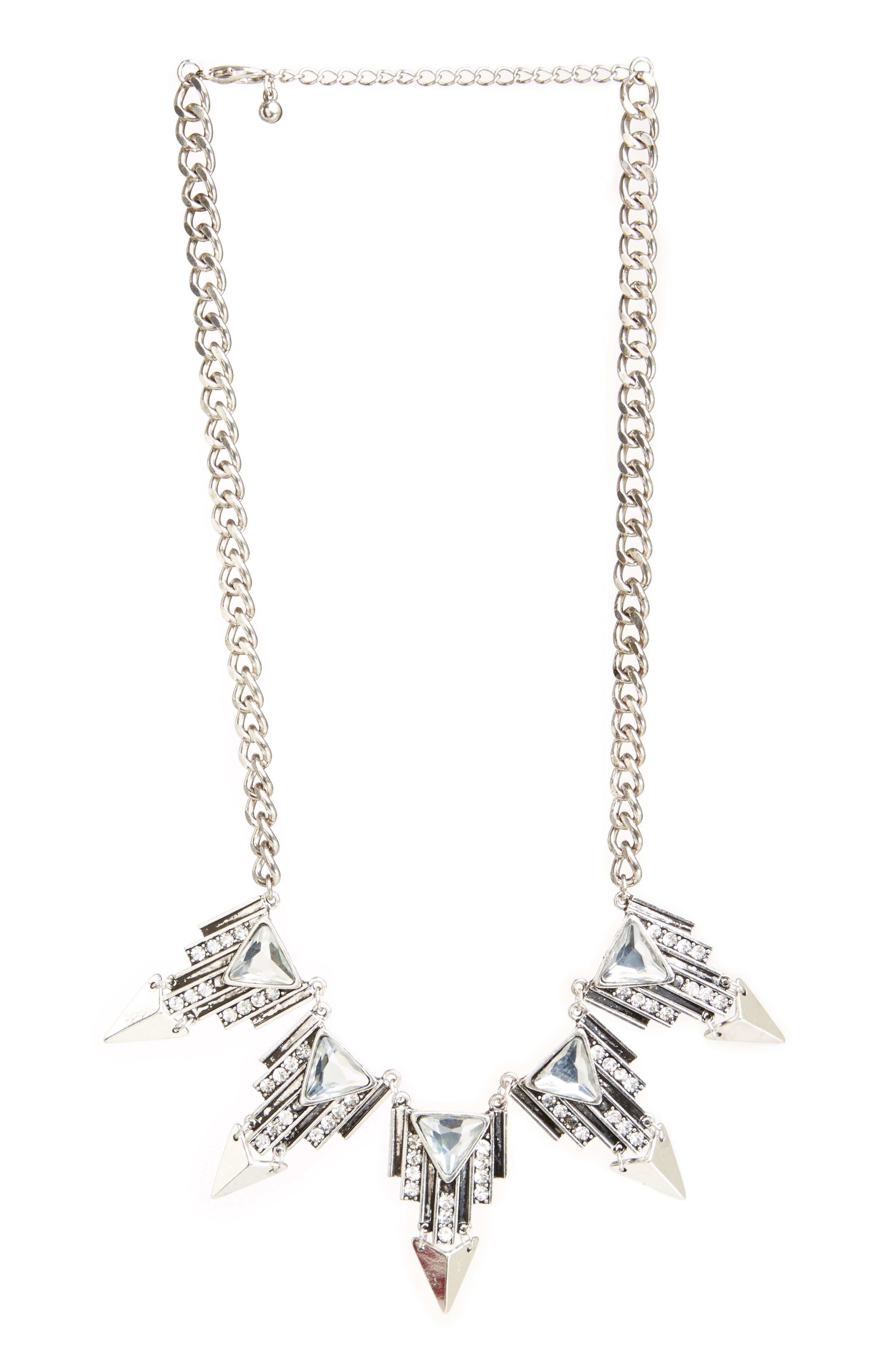 DAILYLOOK Joan of Arc Crystal Necklace in silver at DAILYLOOK