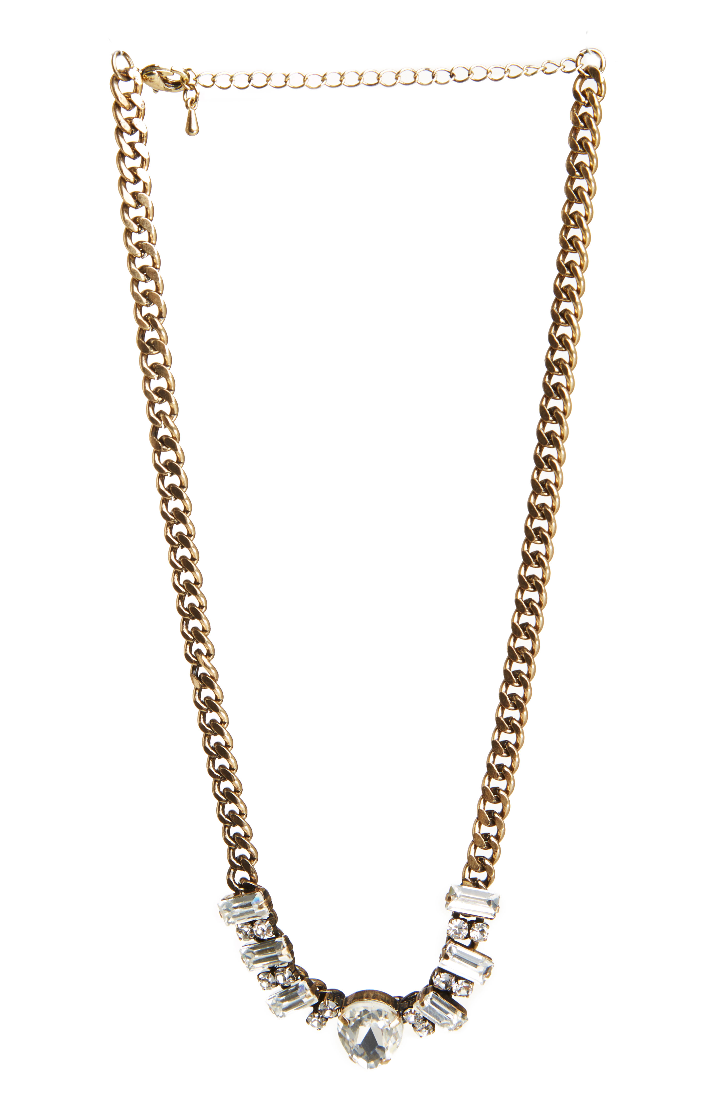 DAILYLOOK Claire Jeweled Statement Necklace in Crystal Clear at DAILYLOOK