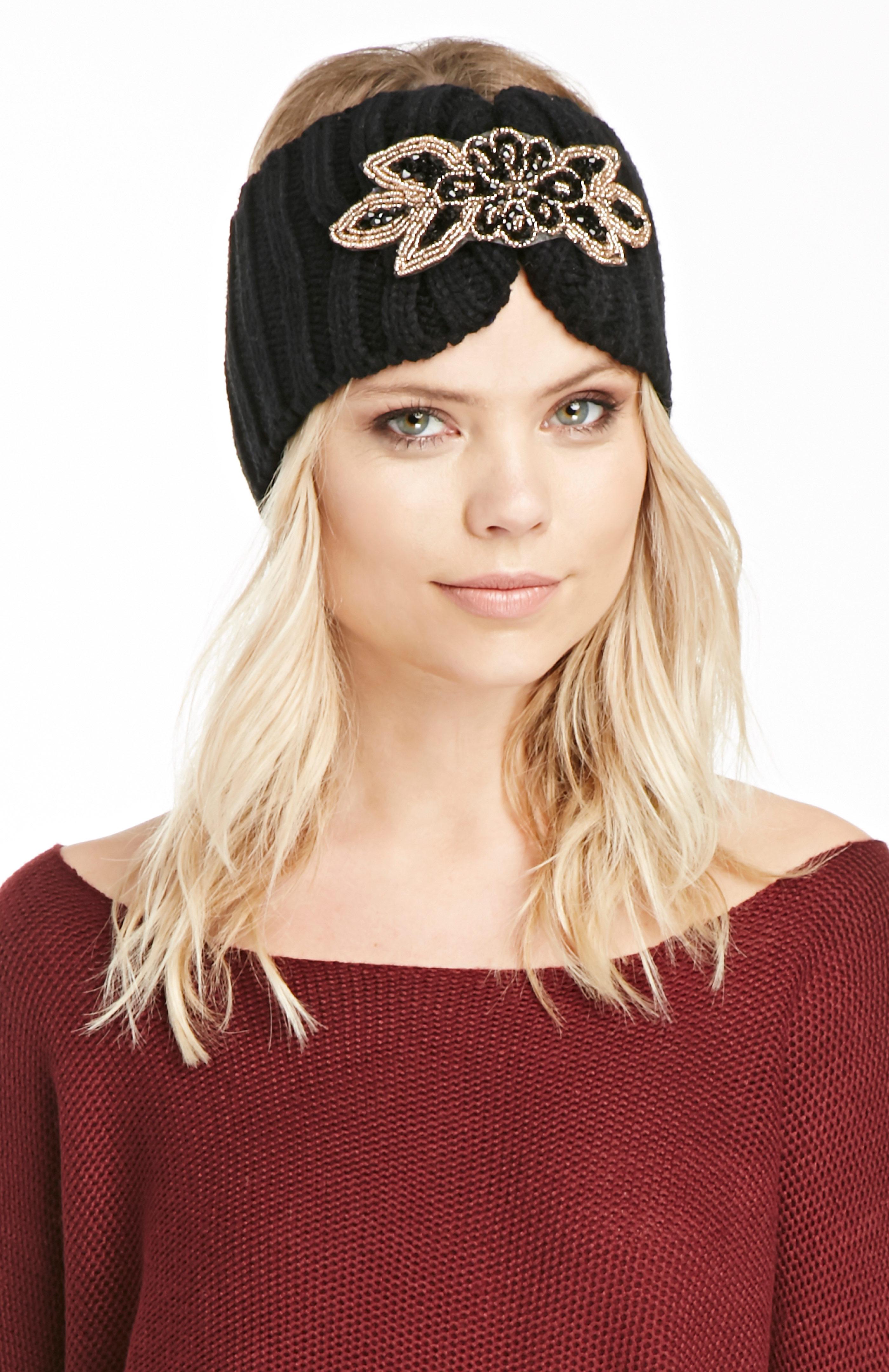 Fiona Jeweled Knit Headband in black at DAILYLOOK