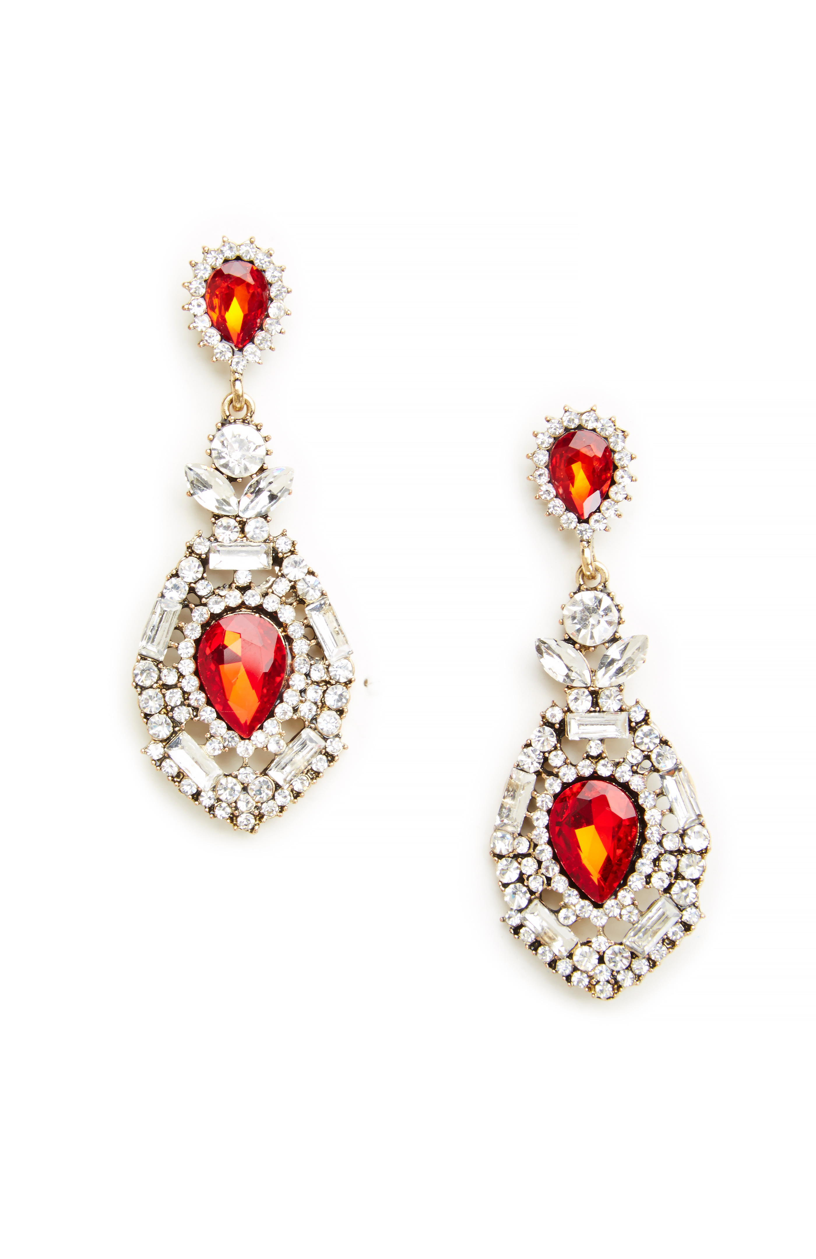 DAILYLOOK Jessica Rabbit Jeweled Earrings in silver/red at DAILYLOOK