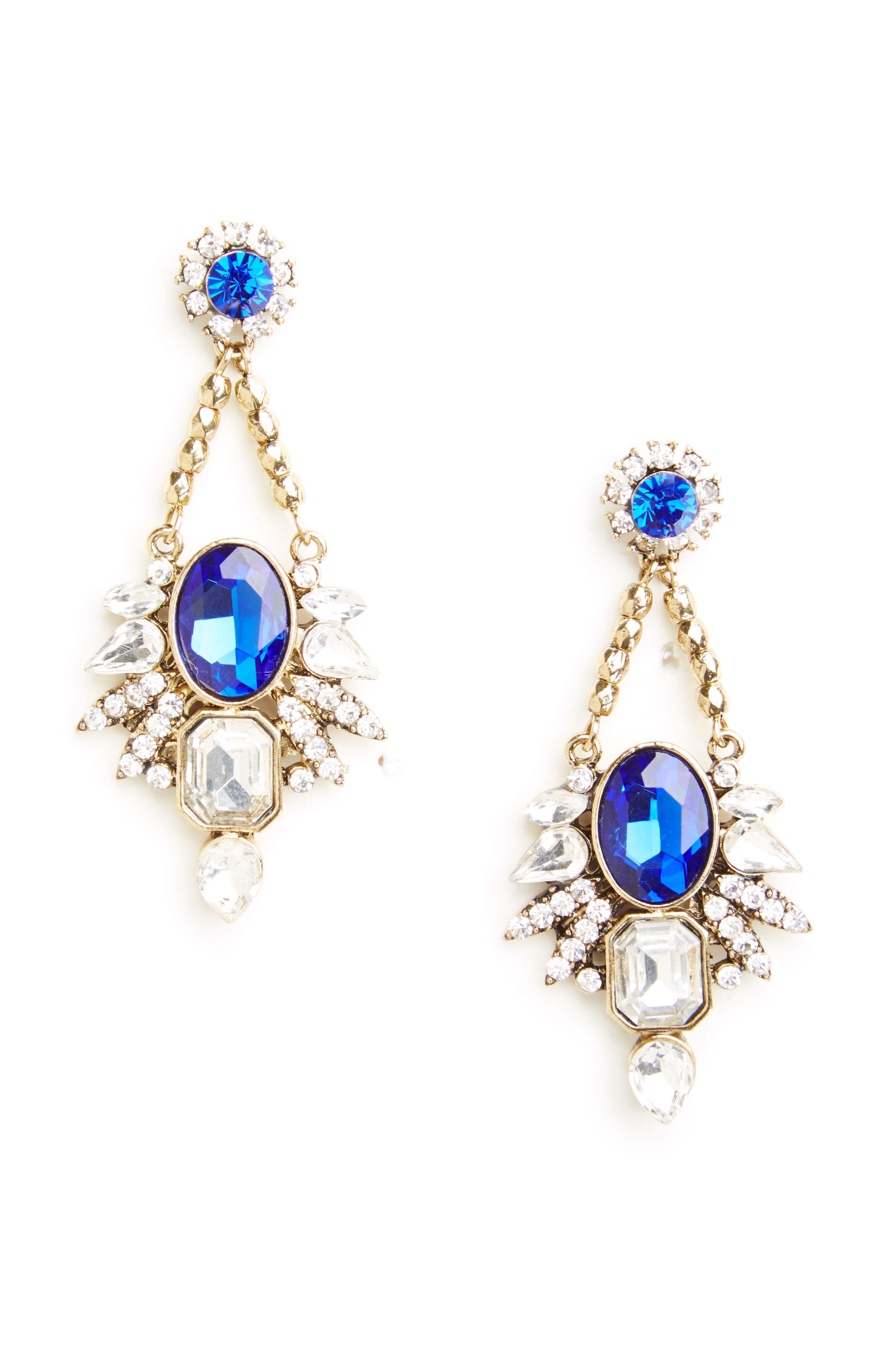 DAILYLOOK Zellweger Crystal Chandelier Earrings in silver/blue at DAILYLOOK