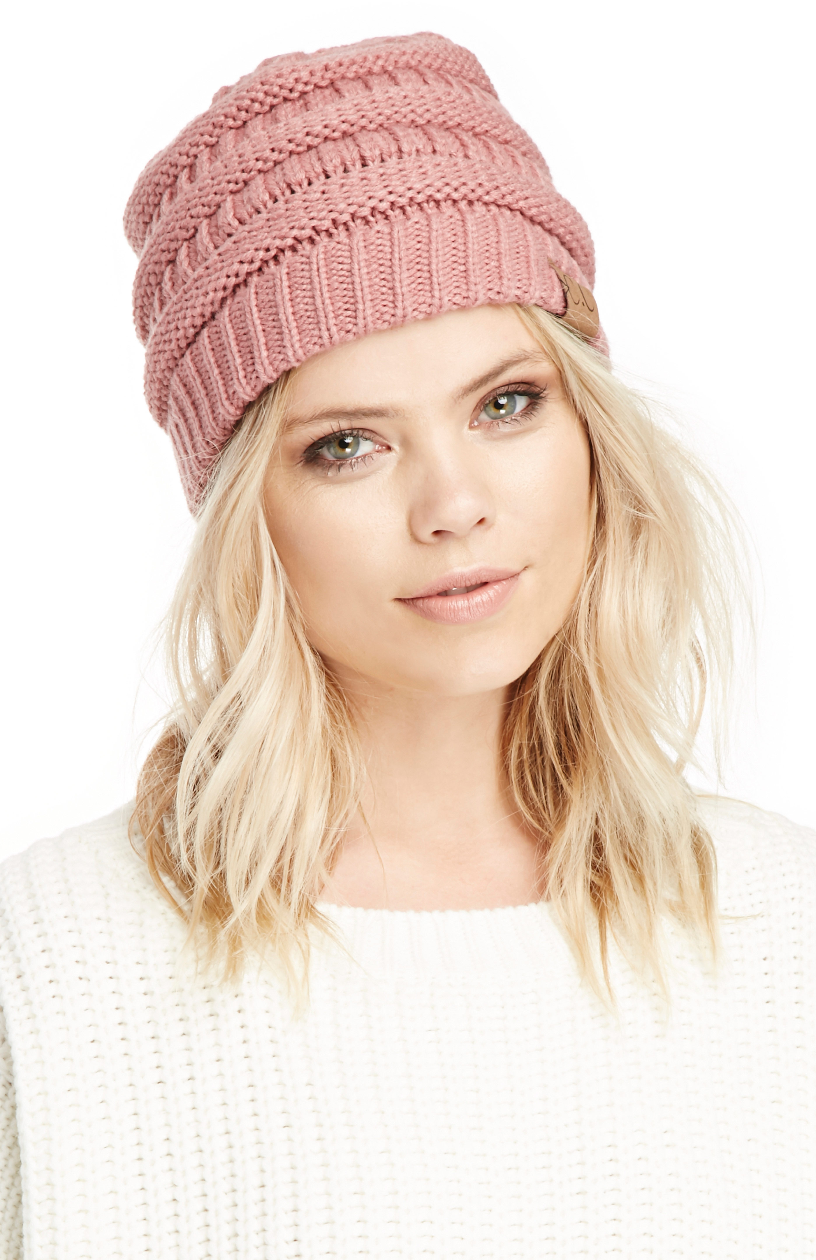 Maxine Cross Knitted Beanie in dusty rose at DAILYLOOK