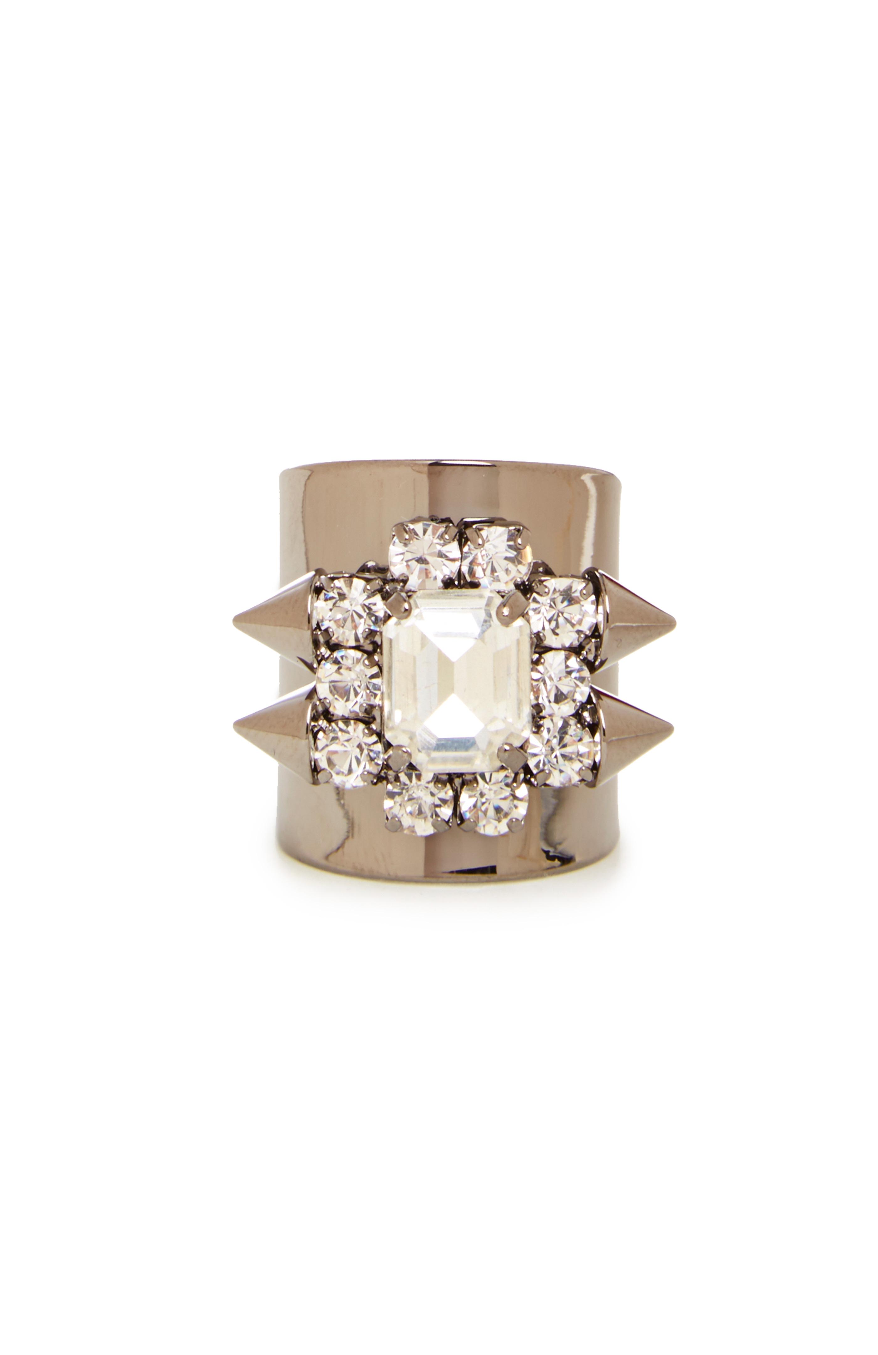 JOA Spiked Crystal Jewel Ring in gun metal at DAILYLOOK