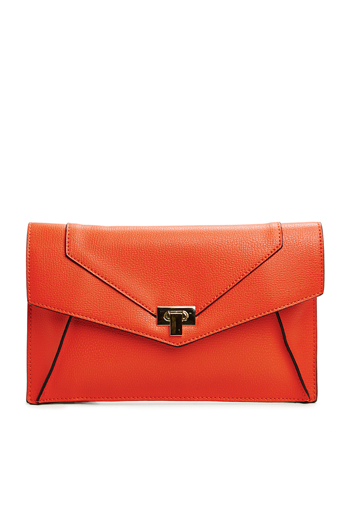 Structured Envelope Clutch in poppy at DAILYLOOK