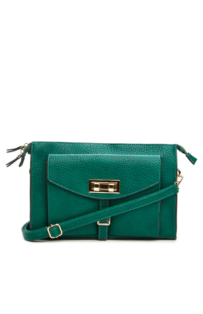 Classic Turnlock Satchel in green at DAILYLOOK