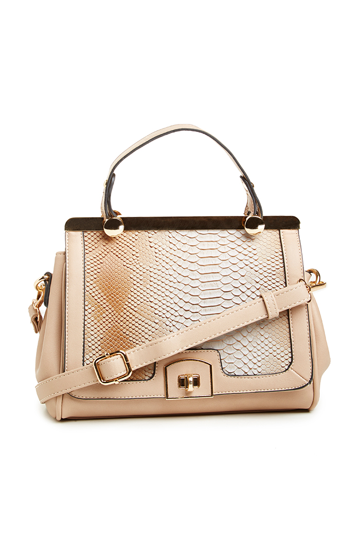 Marcy Roads Crocodile Embossed Satchel in taupe at DAILYLOOK