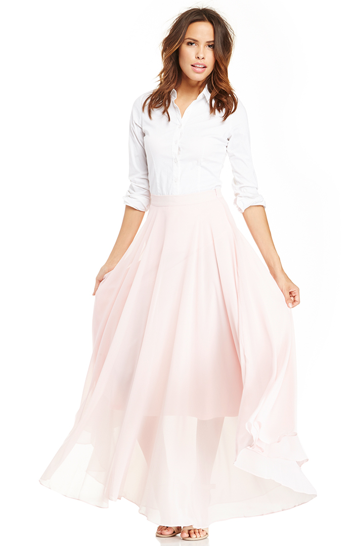 Lucy Paris Chiffon Maxi Skirt in Light Pink S - L at DAILYLOOK