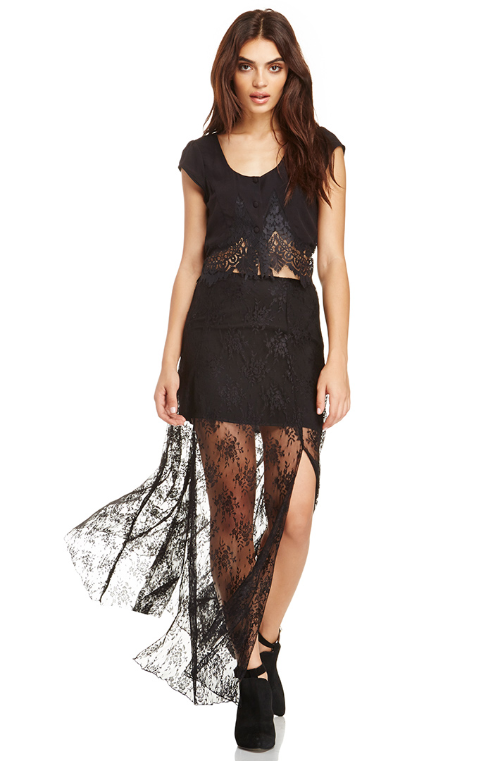 Line  Dot Deep Lace Maxi Skirt in black XS - L at DAILYLOOK