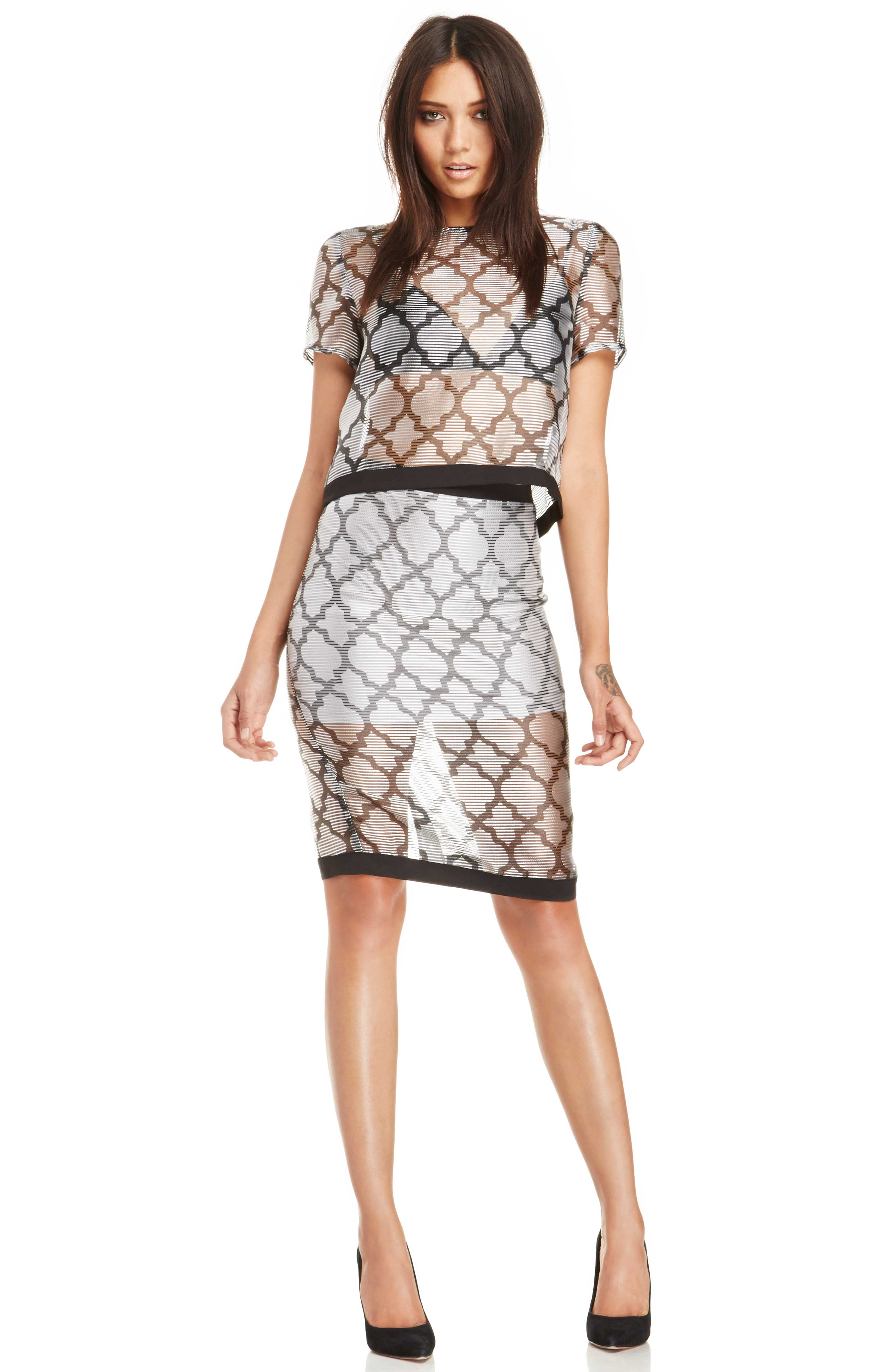 Three Of Something Moroccan Tile Skirt in Black/Silver XS - L at DAILYLOOK