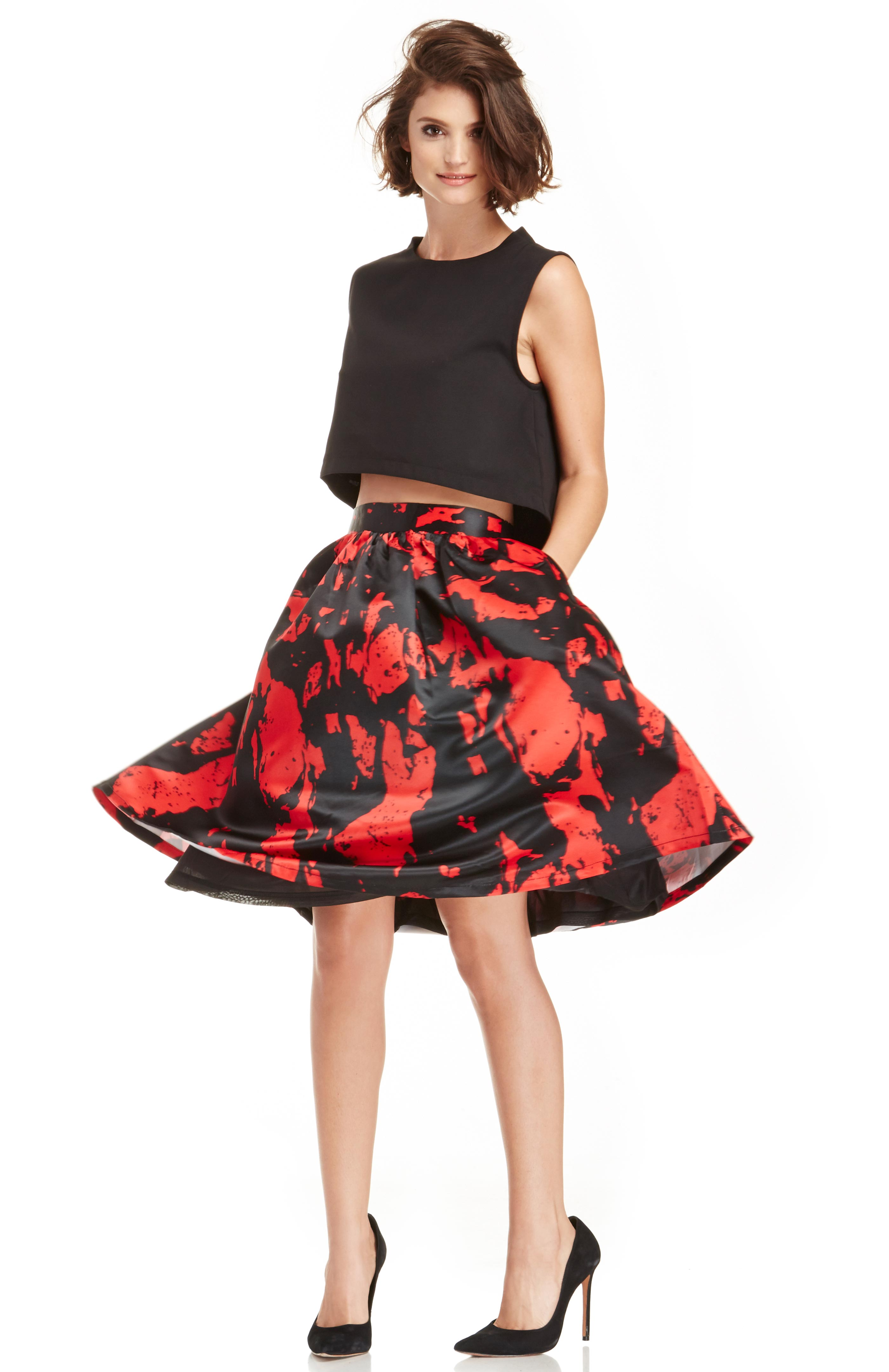 Lucy Paris Stone Patterned Circle Skirt in Black/Red S - L at DAILYLOOK