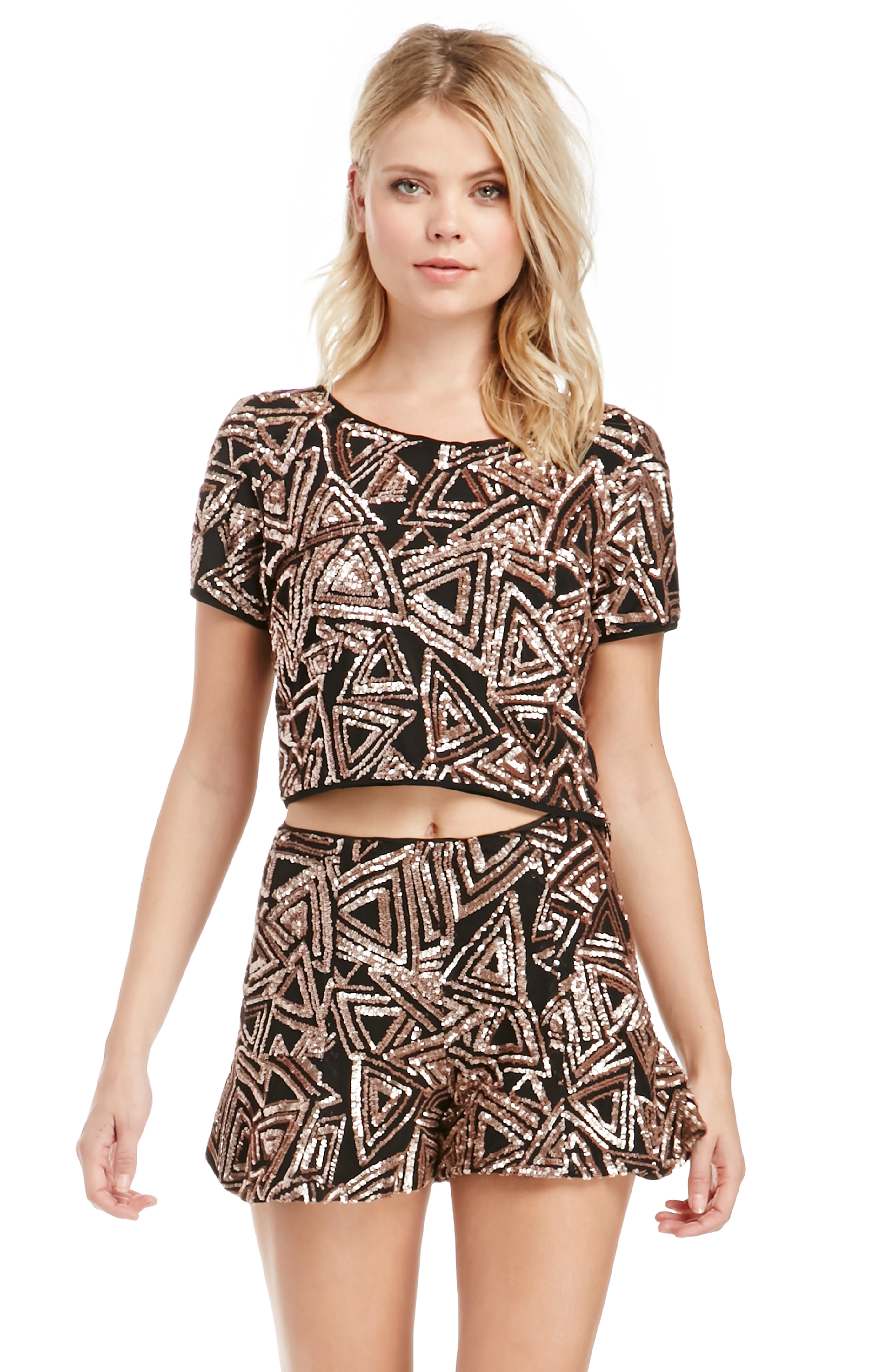 Lucy Paris Sequin Flouncy Shorts in Copper S - L at DAILYLOOK