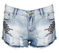 Studded Detail Destroyed Shorts