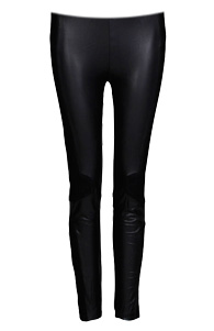 Faux Leather and Mesh Leggings
