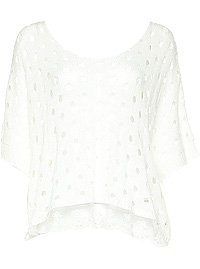 Open Knit Lace Hem Sweater