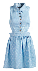 Collared Cutout Polkadot Dress