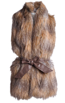 Brown Faux Fur Gilet with Belt