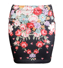 Electric Floral Print Skirt