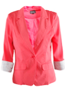 Coral Blazer With Striped Cuff
