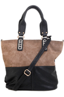 Two Tone Faux Suede Tote