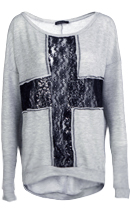 Cross Lace Insert Sweatshirt