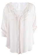 Ivory Pleated Front V Neck Blouse