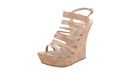 Strappy Beige Wedges