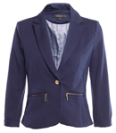 Cropped Girlfriend Blazer with Twin Zip Pockets