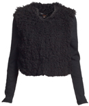 Fuzzy Faux Fur Vest with Ribbed Sleeves
