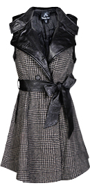 Wool Plaid Trench Dress