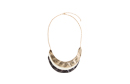 3-Tonal Overlap Curved Pendant Necklace