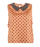 Beaded Collar Polkadots Top