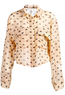 Swan Print Cropped Blouse