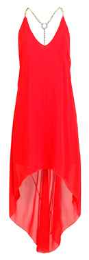 T-Strap Chain Link Red Dress