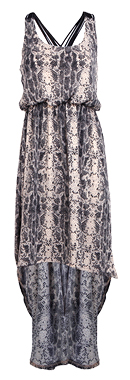 Snake Print Woven Back Hi-Low Dress