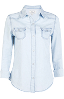 Lace Back Denim Button Down