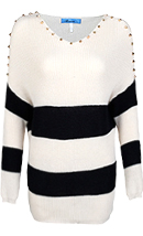 Striped Spike Shoulder Sweater