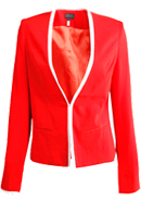 Red and White Trimmed Blazer