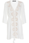Embroidered Gauzy Robe Cover Up