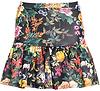 Dark Floral Flounce Skirt