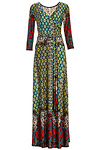 Colorful Mixed Print Maxi Dress