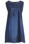 Sleeveless Embroidered Chambray Shift Dress