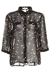 Lucy Paris Sheer Dotted Button Up Blouse