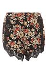 Glamorous Floral Print Lace Trim Shorts