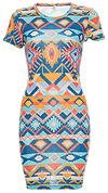 Printed Embroidery Aztec Dress