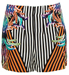 Tropical Striped Silk Shorts