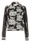 Floral and Leatherette Varsity Jacket