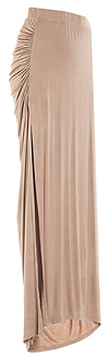 DAILYLOOK Ruched Side Slit Maxi Skirt