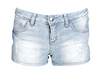 Light Wash Denim Shorts with Tribal Pockets
