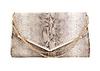 Snakeskin Metallic Flap Clutch